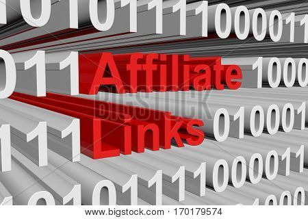affiliate links are presented in the form of binary code 3d illustration