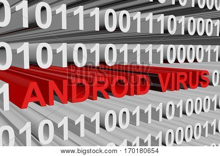 android virus presented in the form of binary code, 3d illustration