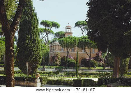 Autumn Park in Rome, Italy Villa Borghese