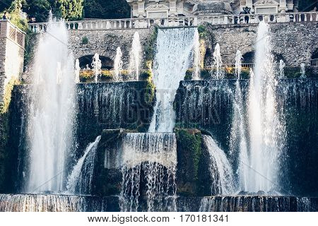 Villa d'Este in Tivoli. Frontal view of the fountains