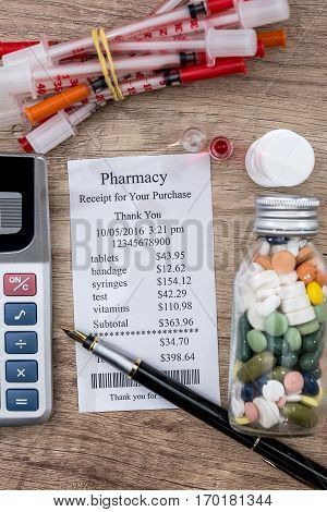 shopping receipts with pills calculator on desk.
