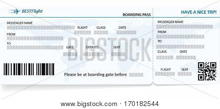 Blue vector template of boarding pass ticket. Concept of trip, journey or travel