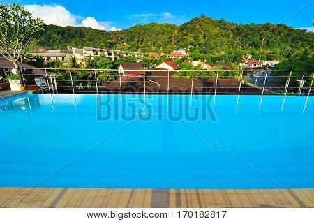 Pool and beautyful landscape with mountains views