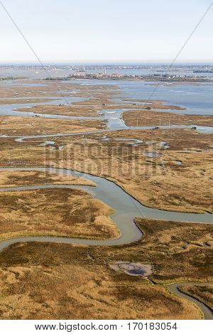 Aerial view over the lagoon of Venice with Burano and the Lido in the background