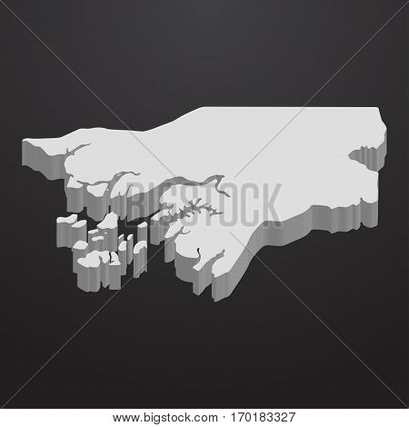 Guinea Bissau map in gray on a black background 3d