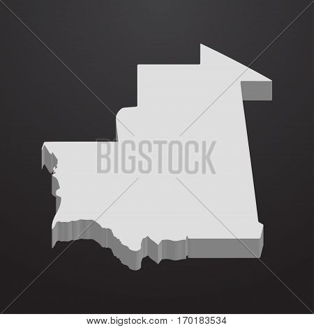 Mauritania map in gray on a black background 3d