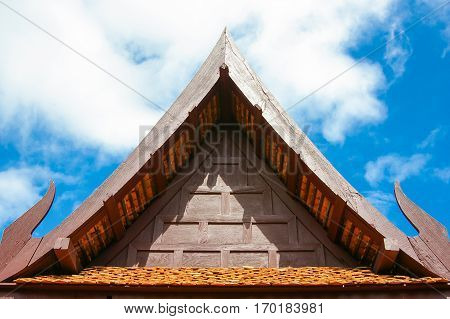 Triangular End Of A Roof, Traditional Thai Style Gable On The Roof