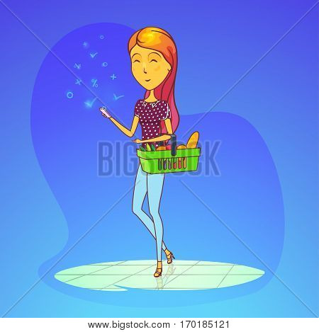 Woman in supermarket with full basket of groceries like baguette bread and vegetables, cellular phone or smartphone. Cartoon girl or female on heels in shop or store. Trading and shopping theme