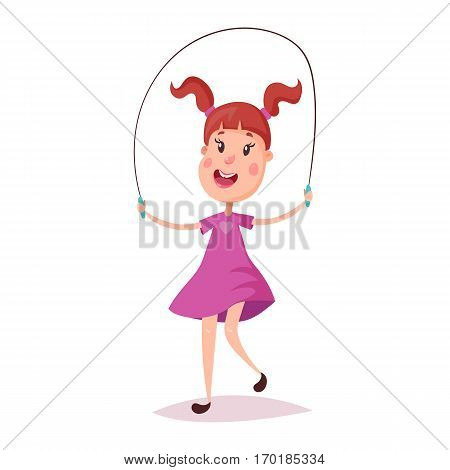 Little smiling girl with pigtails jumping over skipping rope. Cartoon child play or healthy female kid doing activity, young female schoolgirl doing exercise. Joyful and careless childhood, children