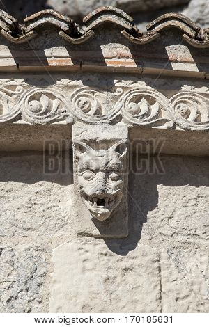 Detail of the sculpture of Sainte-Radegonde medieval Church Talmont sur Gironde Charente Maritime France