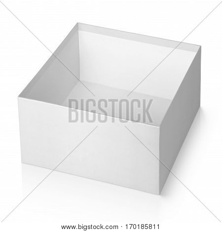 Open Empty White Square Box Isolated On White