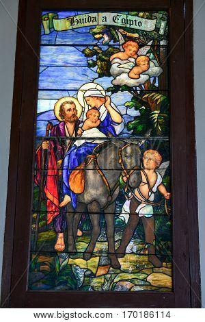 El Cobre Cuba - 14 january 2016: window of El Cobre church and sanctuary 13km from Santiago de Cuba Cuba