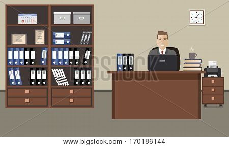 Workplace of office worker. The young man is an employee at work. There is also a table, two cabinets with folders, a printer and other objects in the picture. Vector flat illustration