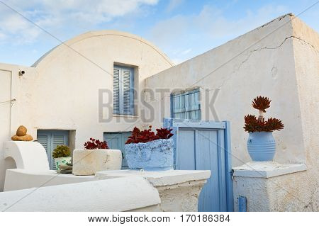 Architecture in Chora village on Anafi island.
