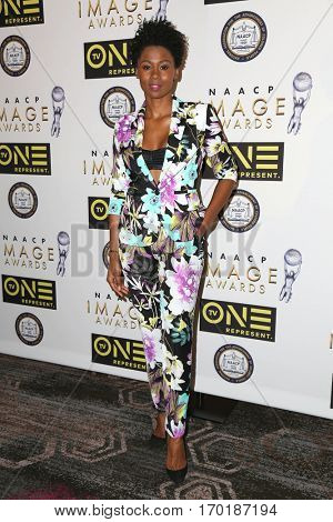 LOS ANGELES - JAN 28:  Emayatzy Corinealdi at the 48th NAACP Image Awards Nominees' Luncheon at Loews Hollywood Hotel on January 28, 2017 in Los Angeles, CA