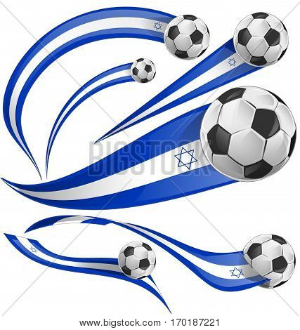israel flag set with soccer ball on white background