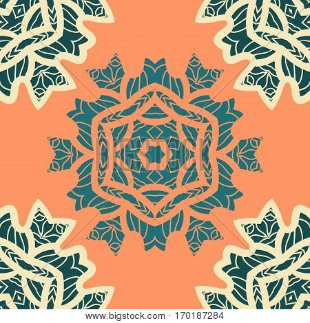 Green and orange color mandala ornament.Decorative ornamental colouring anti-stress therapy pattern.Fabric design.Yoga inspired backgrounds for meditation wall poster. Unusual stylized flower vector.