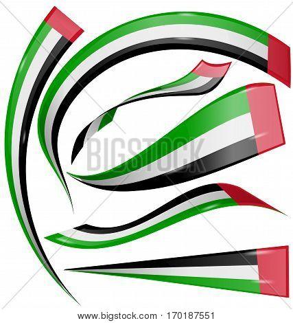 united arab emirates flag set isolated on white background