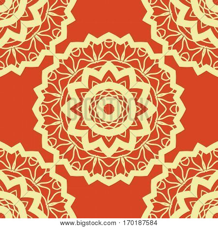 Vintage vector mandala pattern retro yellow on red. Hand drawn abstract tile. Decorative retro pattern. Wallpaper for banner, invitation, wedding card, cover and other kind of design.