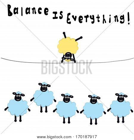 Cartoon sheeps , one sheep different from other, balance is everything, vector illustration
