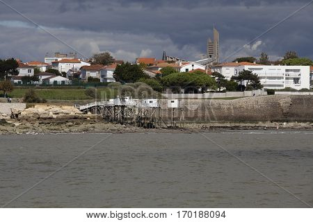 View of the coastline with seaside resort of Royan with grey tourmented sky France