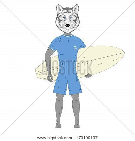 Cute surfer wolf with surfboard. Hand drawn anthropomorphic animal illustration for posters, t-shirt print, greeting card, invitation for summer surf party, tattoo design.