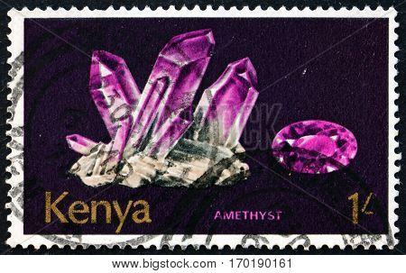 KENYA - CIRCA 1977: a stamp printed in Kenya shows Amethyst mineral found in Kenya circa 1977
