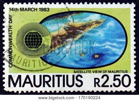 MAURITIUS - CIRCA 1983: a stamp printed in Mauritius shows Satellite view of Mauritius circa 1983