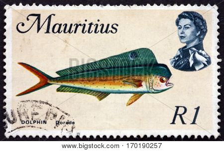 MAURITIUS - CIRCA 1969: a stamp printed in Mauritius shows Common dolphinfish coryphaena hippurus is a species of marine fish circa 1969