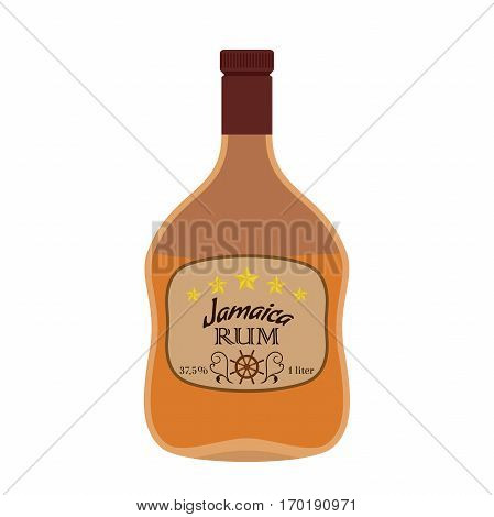 Alcohol drink, rum. Jamaica rum in flat style design. Vector illustration. Liquor for pubs restaurants hipster bars