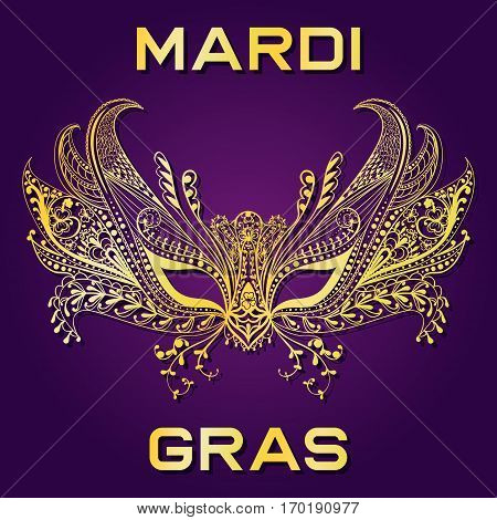 Carnival golden face mask for Mardi Gras invitation, greeting card. Patterned ornate vector illustration.