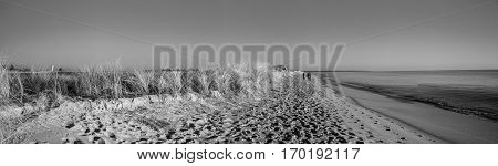 Black and white panoramic view on a quiet beach and tranquil sea' Casse de la Belle Henriette, located between l'Aiguillon sur Mer and la Tranche sur Mer, Vendee, France