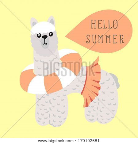 Lama with calligraphy Hello Summer in hand drawn doodle style. Vector illustration for t-shirt print, party poster, kids animal.
