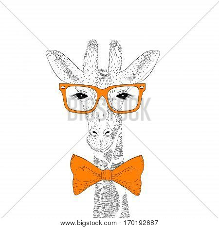 Vector cute giraffe face with glasses, bow tie. Fashion hand drawn animal illustration for t-shirt print, kids greeting card, wear.