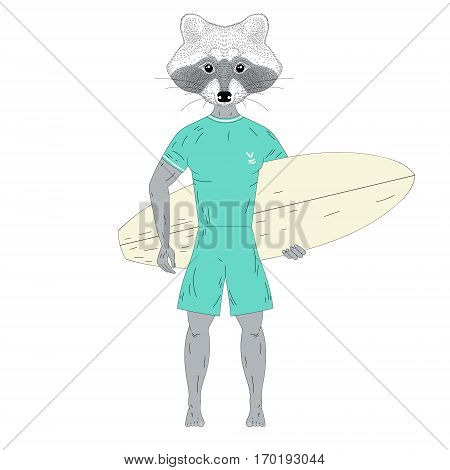 Raccoon surfer with surfboard. Hand drawn anthropomorphic animal illustration for posters, t-shirt print, greeting card, invitation for summer surf party, tattoo design.