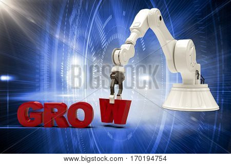 Image of robotic arm arranging grow text against futuristic blue circles 3d
