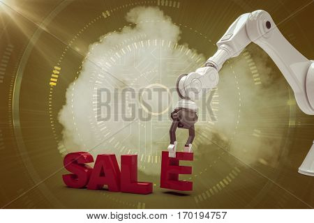 Image of robotic arm arranging sale text against futuristic shiny interface 3d