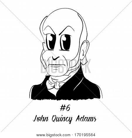 Cartoon Caricature Character Historical Portrait US Presidents Comic Emoticon - John Quincy Adams