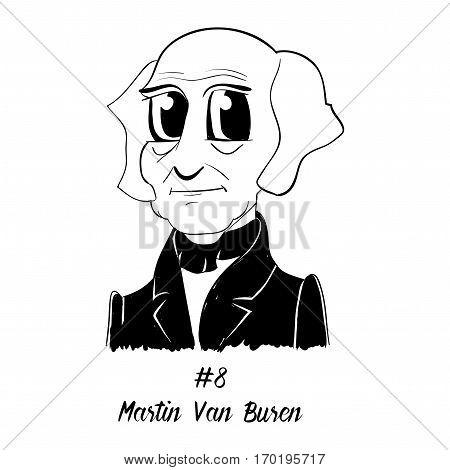 Cartoon Caricature Character Historical Portrait US Presidents Comic Emoticon - Martin Van Buren