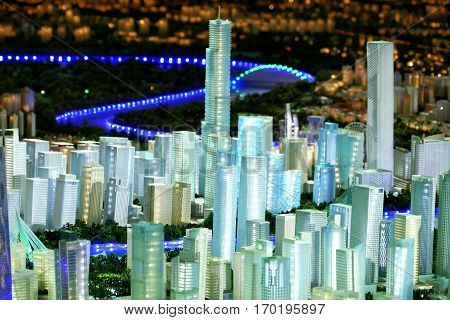 Tianjin, China. December 17Th 2016: Model Of A City Architecture, Buildings And Park Model