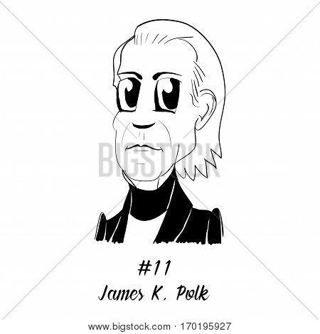 Cartoon Caricature Character Historical Portrait US Presidents Comic Emoticon - James K. Polk