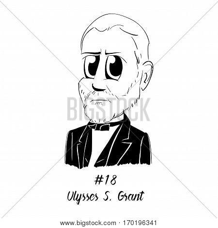 Cartoon Caricature Character Historical Portrait US Presidents Comic Emoticon - Ulysses S. Grant