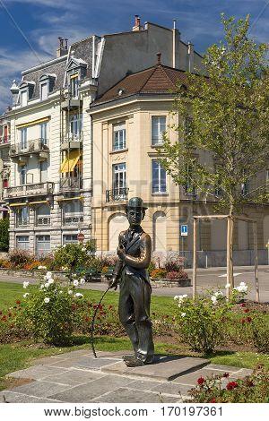 VEVEY, Switzerland - September 01: monument to Charlie Chaplin on the promenade in Vevey (Vaud), Switzerland on September 01, 2015