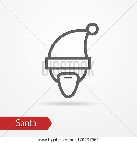 Santa Claus with beard or abstract person celebrating new year in festive hat. Man head isolated icon in line style with shadow. Holiday vector stock image.