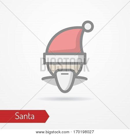 Santa Claus with beard or abstract person celebrating new year in festive hat. Man head isolated icon in flat style with shadow. Holiday vector stock image.