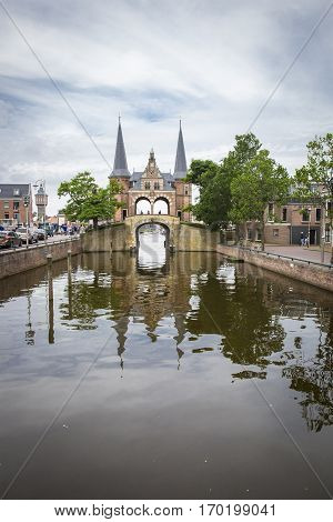 Waterpoort (Watergate) the symbol of the city of Sneek The Netherlands