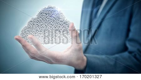 Midsection of elegant businessman against grey vignette 3d
