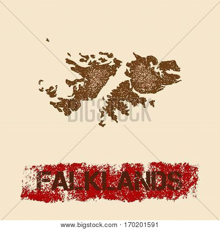 Falklands Distressed Map. Grunge Patriotic Poster With Textured Country Ink Stamp And Roller Paint M