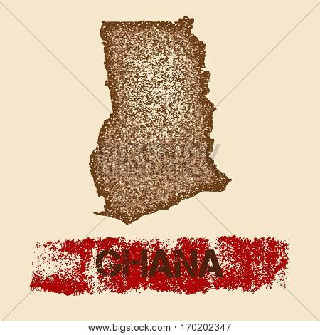 Ghana Distressed Map. Grunge Patriotic Poster With Textured Country Ink Stamp And Roller Paint Mark,