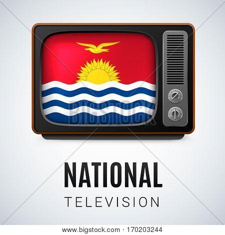 Vintage TV and Flag of Kiribati as Symbol National Television. Tele Receiver with flag design